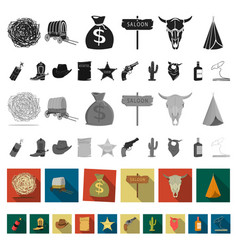 attributes of the wild west flat icons in set vector image