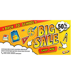 Back to school big sale bannershop now promotions vector