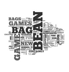 Bean bag game text word cloud concept vector
