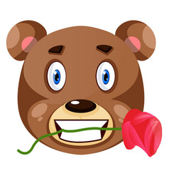 bear is holding rose in his mouth on white vector image