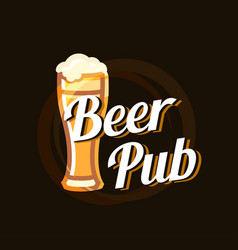 beer pub logo on dark beautiful background vector image