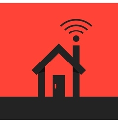 black smart house with wifi icon on red background vector image