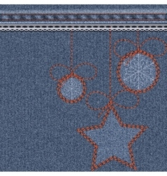 Blue christmas background with denim texture vector