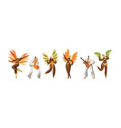 brazilian carnival dancer character set woman vector image
