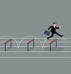 businessman with elastic spring shoes jumping vector image