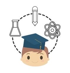 cartoon boy student graduation school chemistry vector image