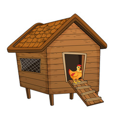 Cartoon chicken coop and hen isolated on white vector