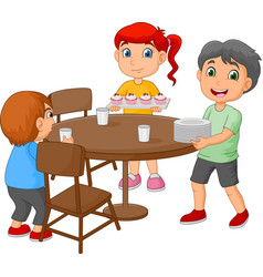 cartoon kids setting the dining table by placing g vector image