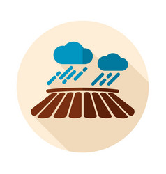 cloud with rain over the field icon vector image