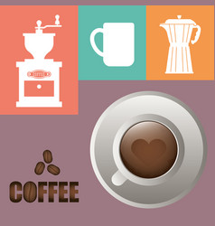Coffee cup poster cup heart shape vector