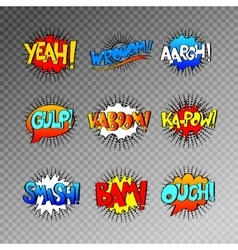 Collection of nine multicolored comic sound vector
