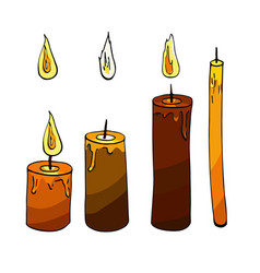 colorful candle and fire sketch vector image