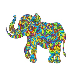 Colorful hand drawn zentagle of an elephant vector