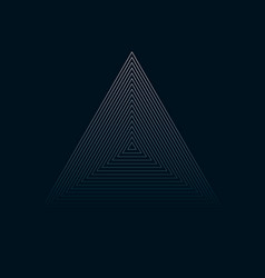 Concentric contour triangles on black background vector