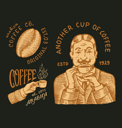 cup drink man holds a mug cacao beans grains vector image