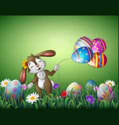 Cute easter bunny holding an easter egg balloon in vector