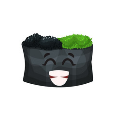 cute happy roll character with caviar sushi with vector image