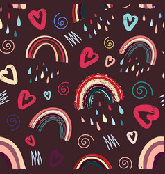 Cute rainbow and heart romantic seamless pattern vector