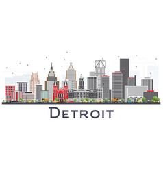 detroit michigan city skyline with gray buildings vector image
