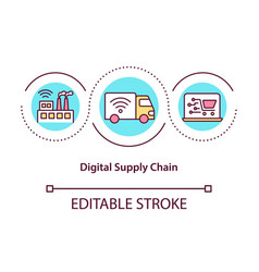 Digital supply chain concept icon vector
