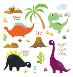 Dinosaur footprint volcano palm tree stones vector