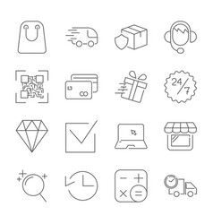 e-commerce outline web icons set editable stroke vector image