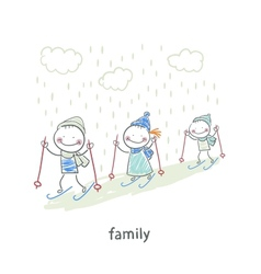 Family skiing vector