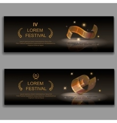 festival movie banners Camera film 35 mm roll vector image
