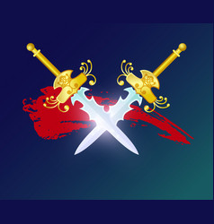 Fight opposition element with crossed swords vector