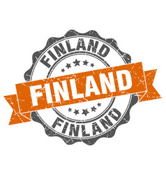 Finland round ribbon seal vector