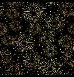 firework seamless pattern gold foil black vector image