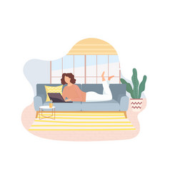 Freelancer working on laptop on sofa at home vector