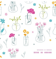 Fresh flowers in vases frame corner pattern vector image