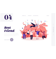 friends congratulation website landing page young vector image