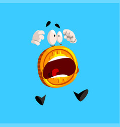Frightened bitcoin character screaming funny vector