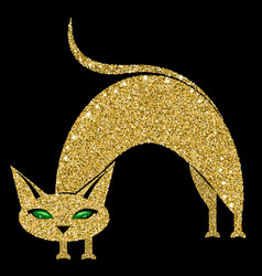 golden cat with emerald eyes vector image