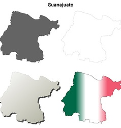 Guanajuato blank outline map set vector