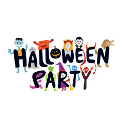 Halloween monster characters party vector