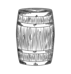 Hand drawn alcohol wood barrel barrel isolated vector