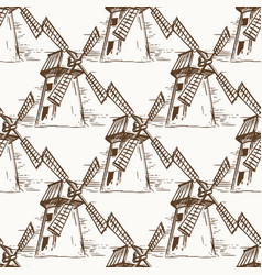 Hand drawn mill seamless pattern vector