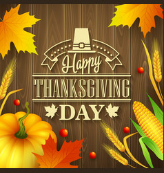 Hand drawn thanksgiving greeting card with leaves vector image