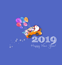 happy 2019 new year design card with santa claus vector image