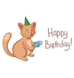 Happy birthday card with cute cartoon cat in hat vector