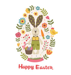 happy easter greeting card with bunny vector image vector image