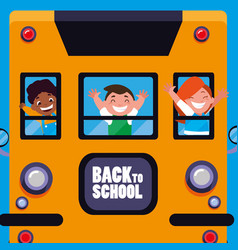 happy students kids in the school bus vector image