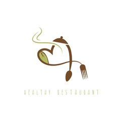 healthy restaurant concept with heart spoon vector image