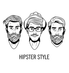 hispters mens faces hand drawing vector image