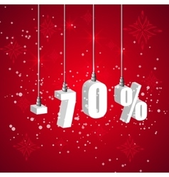 Holiday winter sale discount banner Hanging 3d vector image