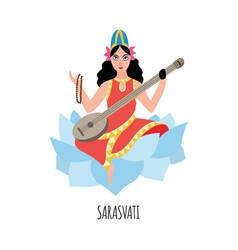 Indian goddess wisdom saraswati character vector