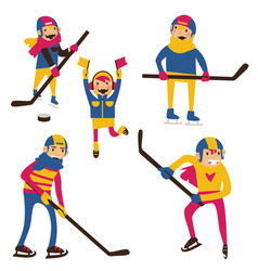 Isolated on white hockey family with hockey sticks vector